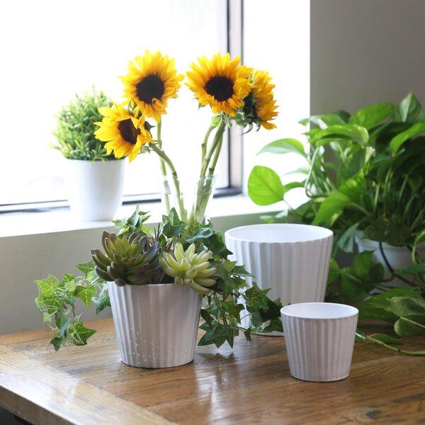 Beau Round 3 Piece Ceramic Pot Planter Set by Charlton Home