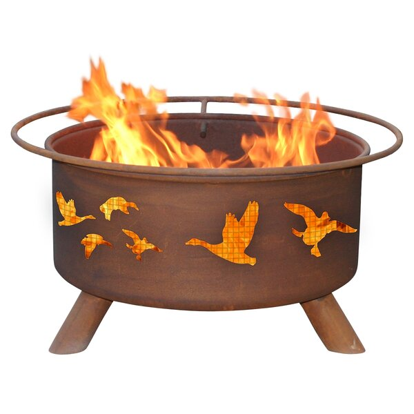 Classic Wild Ducks Steel Wood Burning Fire Pit by Patina Products