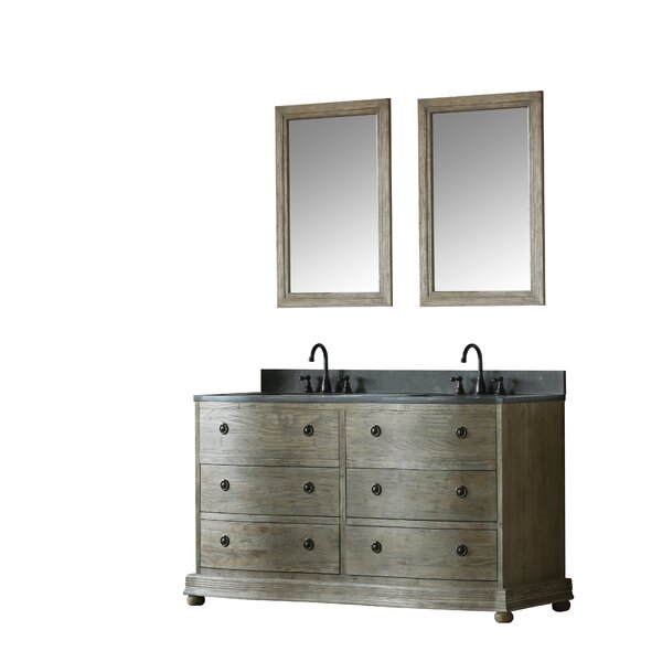 Reginald 60 Double Bathroom Vanity Set with Mirror by Millwood Pines