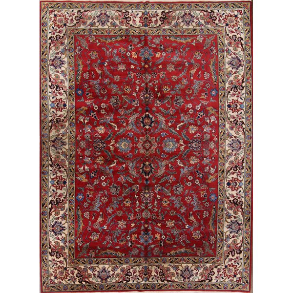 Renfrow Agra Tabriz Oriental Vintage Hand-Knotted Wool Red/Burgundy Area Rug by Bloomsbury Market