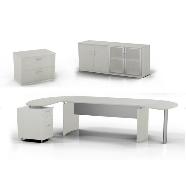 Medina Computer Desk with Pedestal, Low Wall Cabinet and Lateral File by Mayline Group