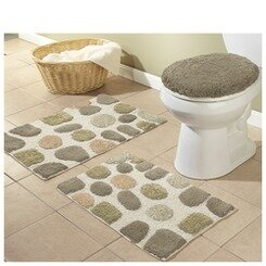 River Rocks 3 Piece Bath Rugs Set by Better Trends