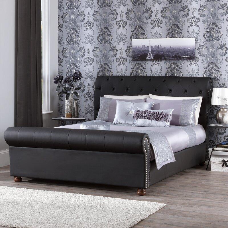 pira upholstered sleigh bed