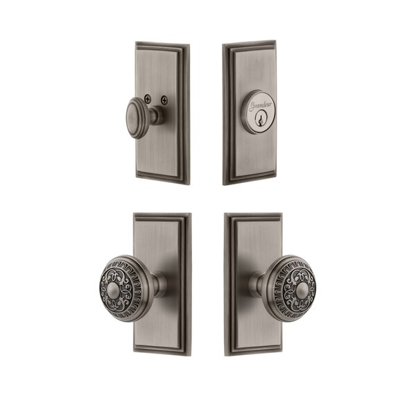 Carre Single Cylinder Knob Combo Pack with Windsor Knob by Grandeur