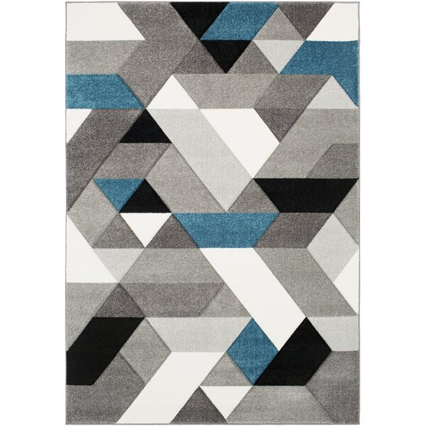 Mott Street Geometric Teal/Gray Area Rug by Wrought Studio