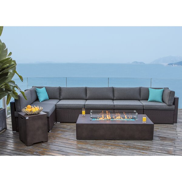 Emmy 9 Piece Rattan Sectional Seating Group With Cushions By Longshore Tides by Longshore Tides