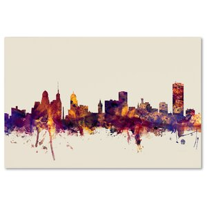'Buffalo New York Skyline' Framed Graphic Art on Wrapped Canvas by Ivy Bronx