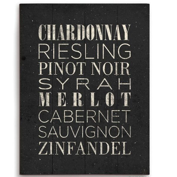 List Of Wine Textual Art Wood Plaque in White by Click Wall Art
