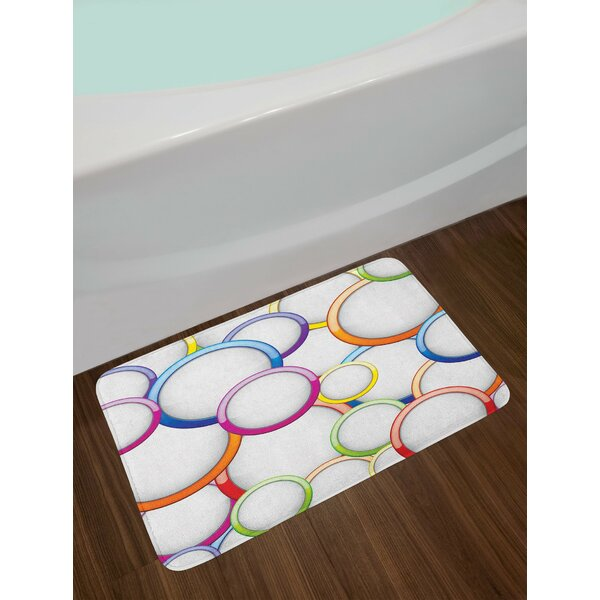 Geometric Abstract Chained Colorful Bubbles and Circles Round Patterns Art Non-Slip Plush Bath Rug by East Urban Home