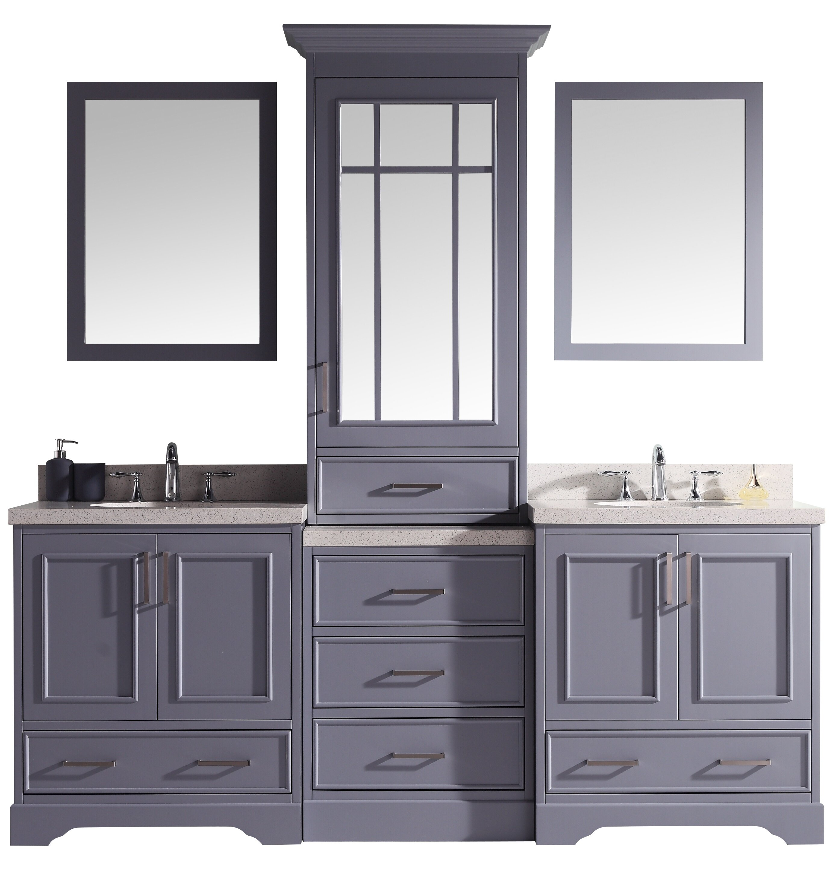 Canora Grey Sawyer 85 Double Sink Vanity Set In Grey Wayfair