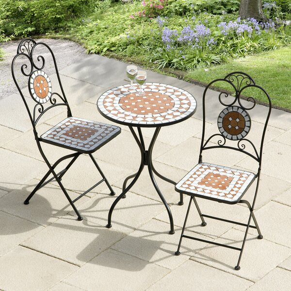Lowery Diamond Mosaic 3 Piece Bistro Set by Bungalow Rose