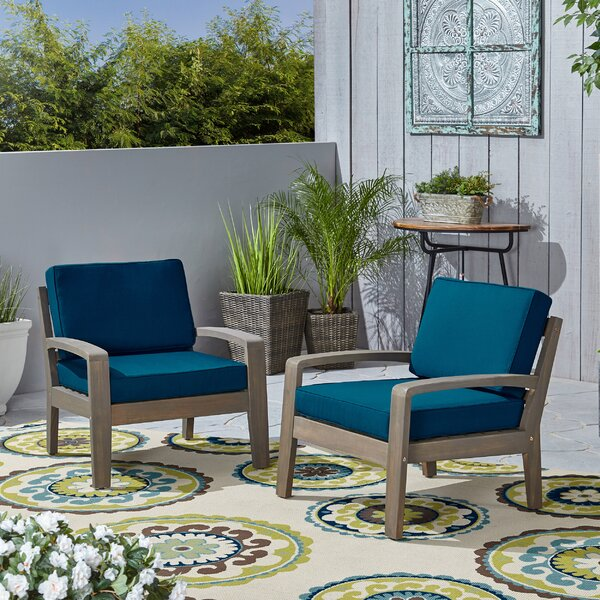 Sondra Patio Chair with Cushions (Set of 2) by Highland Dunes