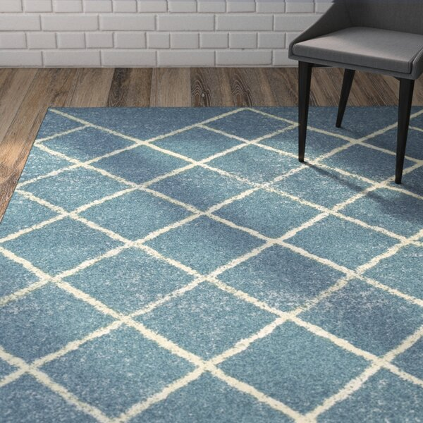 Verity Lattice Blue Area Rug by Wrought Studio