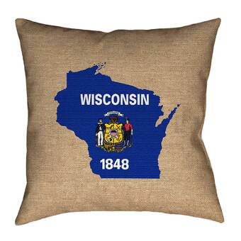 East Urban Home Wisconsin State Flag Pillow In Faux Linen Double Sided Print Pillow Cover Wayfair