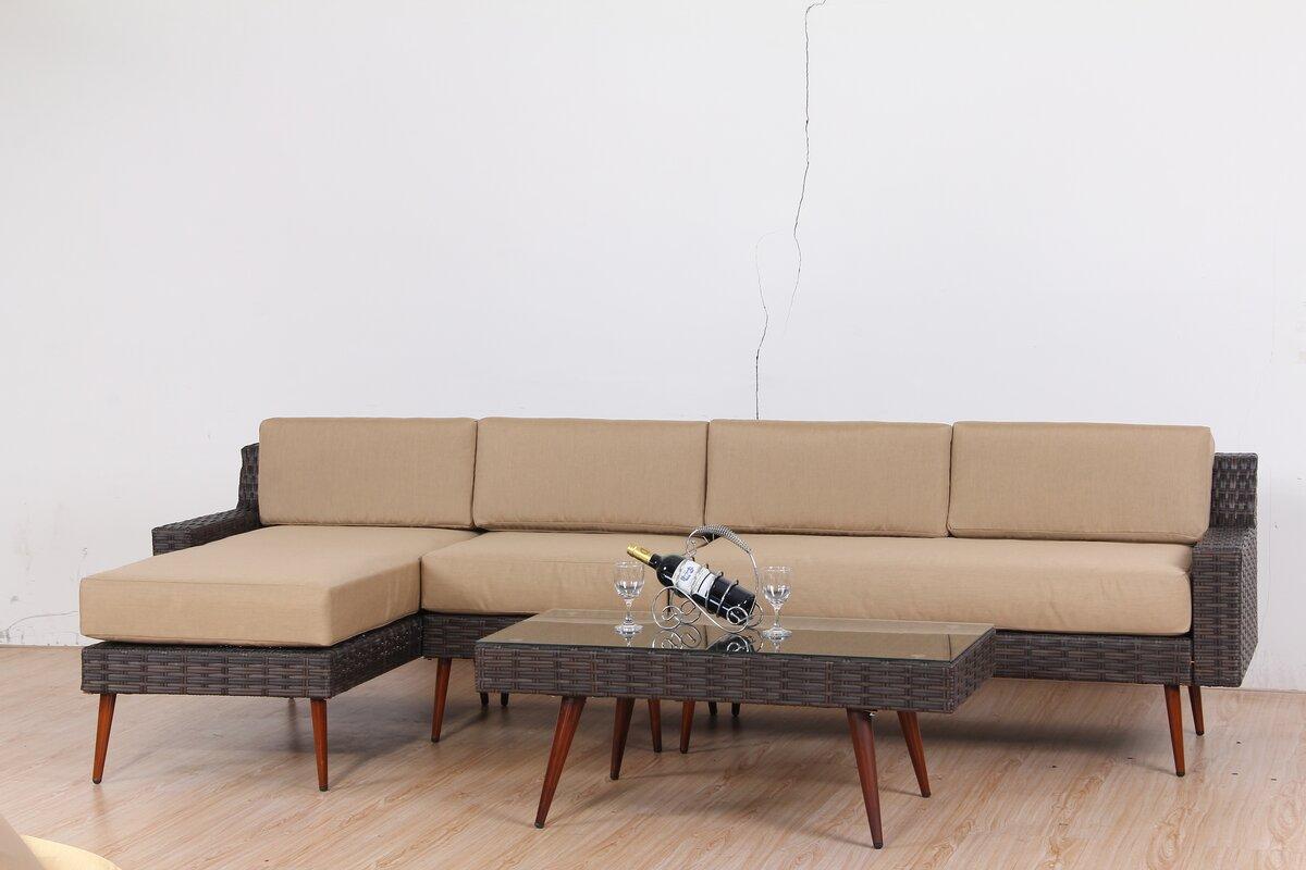 Corrigan Studio Sienna 4 Piece Rattan Sectional Set with Cushions ...