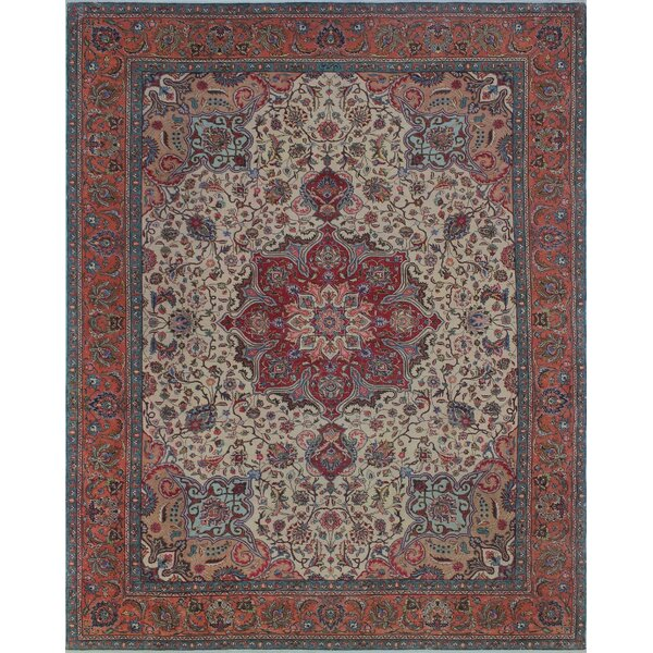 Brockwell Vintage Distressed Hand Knotted Wool Ivory Area Rug by Bloomsbury Market