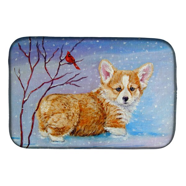 Corgi Pup Snow Cardinal Dish Drying Mat by Caroline's Treasures