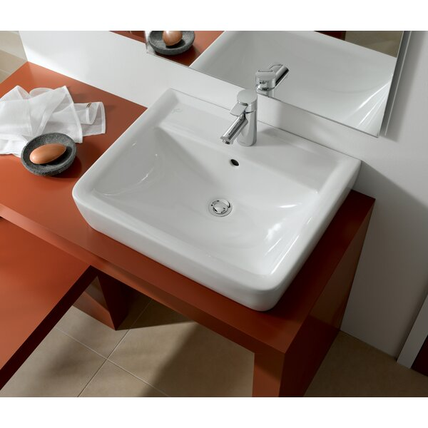 Renova Ceramic Rectangular Vessel Bathroom Sink with Overflow by Bissonnet