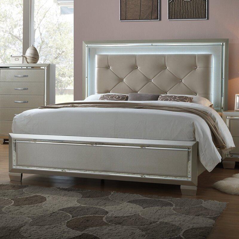 Domenick Full Upholstered Platform Bed Frame With LED On Headboard