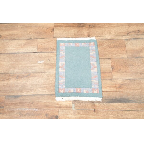 One-of-a-Kind Phineas Tibet Oriental Hand-Knotted Wool Teal Area Rug by August Grove