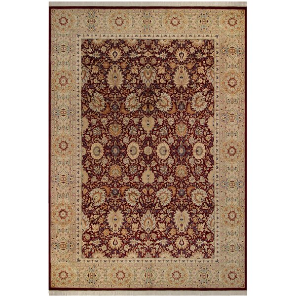 Bellomy Lahore Hand-Knotted Wool Red/Tan Area Rug by Astoria Grand