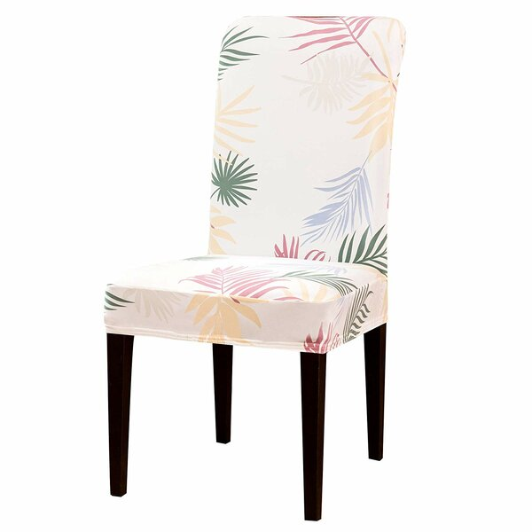 Printed Leaf Stretchable Box Cushion Dining Chair Slipcover By Bayou Breeze