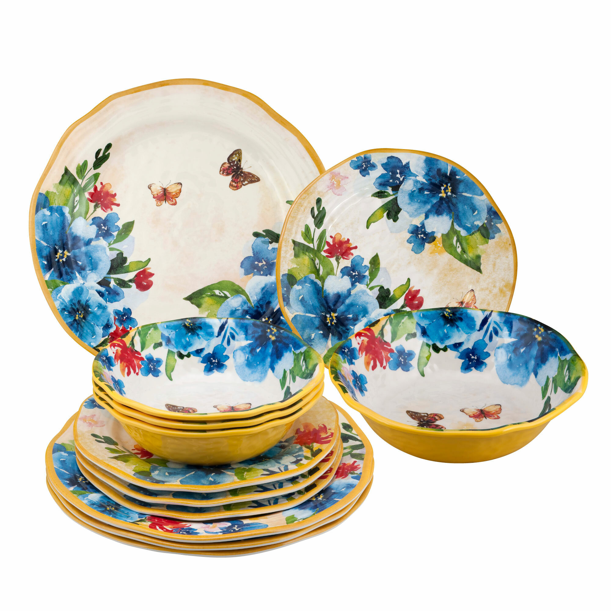 c76c92de31a Astoria Grand Garris Butterfly 12 Piece Melamine Dinnerware Set Service for  4