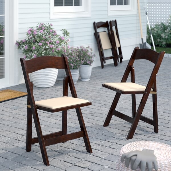 Chafin Folding Patio Dining Chair with Cushion (Set of 4) by Winston Porter