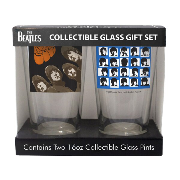 Beatles Rubber Soul and Hard Days Night 2 Piece Collectible Pint Glass Set by Boelter Brands
