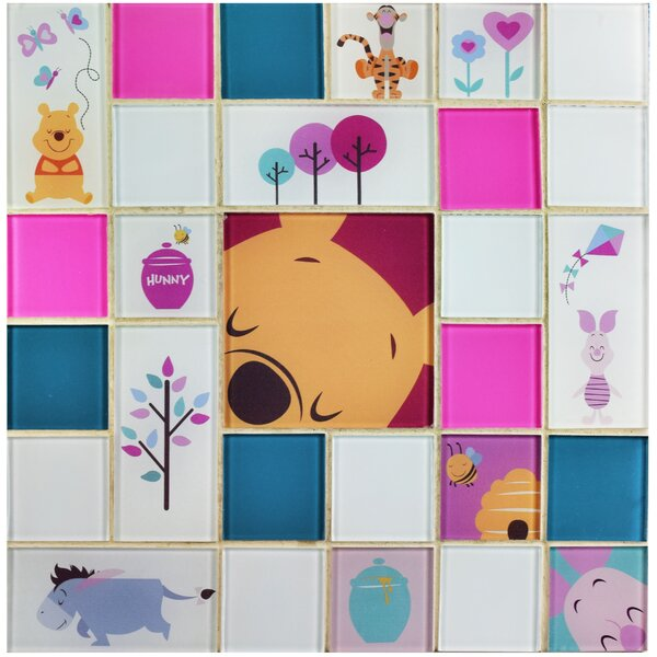 Disney Pooh and Friends Random Sized Glass Mosaic Tile in Pink by EliteTile