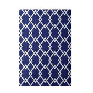 Geometric Royal Blue Indoor Outdoor Area Rug