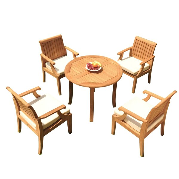 Jerrold 5 Piece Teak Dining Set by Rosecliff Heights