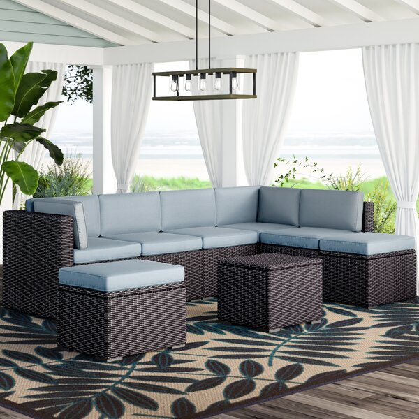 Seaton 6 Piece Rattan Sectional Seating Group with Cushions by Sol 72 Outdoor