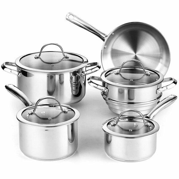 Classic 9-Piece Stainless Steel Cookware Set by Cooks Standard