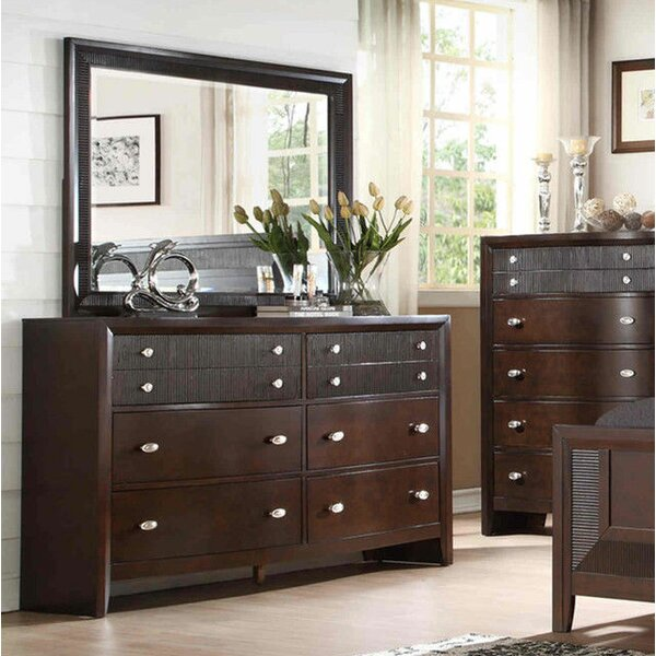 Bay Hill 6 Drawer Double Dresser with Mirror by Fairfax Home Collections