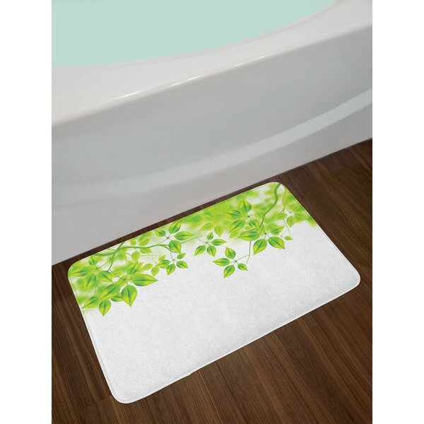Leaves Freshening Background Bath Rug by East Urban Home