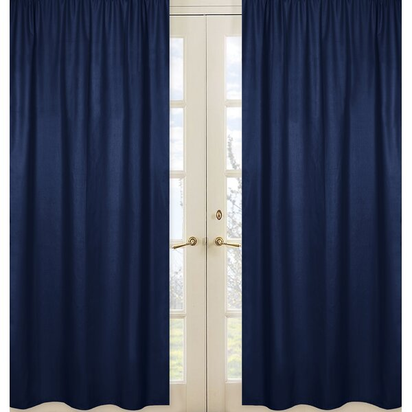 Plaid Solid Semi-Sheer Rod Pocket Curtain Panels (Set of 2) by Sweet Jojo Designs