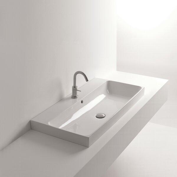 Normal Ceramic Rectangular Vessel Bathroom Sink with Overflow