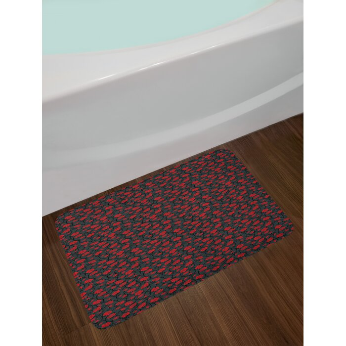 Ambesonne Red And Black Bath Mat By Romantic Vintage Roses Illustration Old Fashioned Victorian Art Plush Bathroom Decor Mat With Non Slip Backing