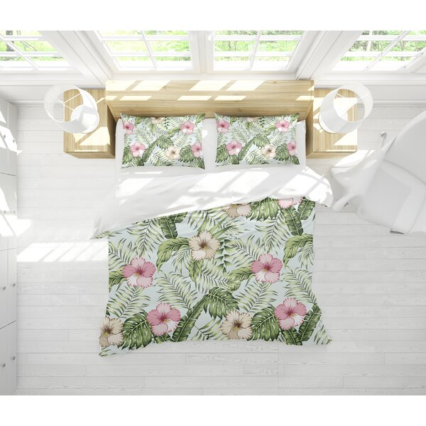 Joyce Tropical Leaves and Hibiscus Comforter Set