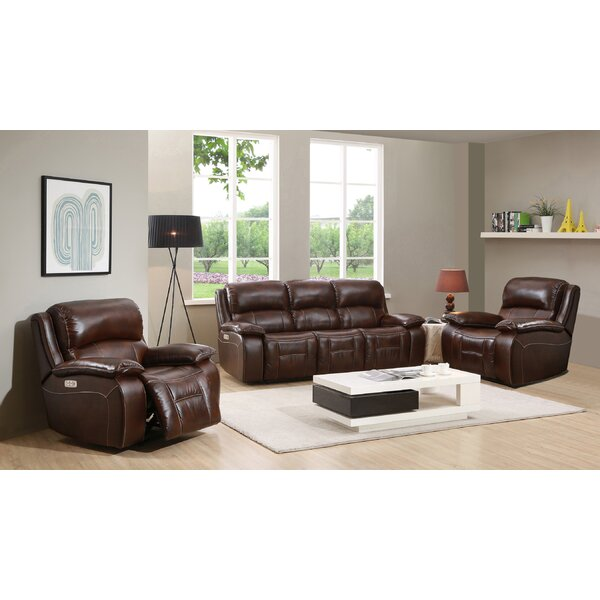 Westminster II Reclining  Leather 3 Piece Living Room by HYDELINE