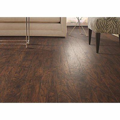 Hanbridge 5.25 x 47.25 x 11.93mm Hickory Laminate Flooring in Dark Brown by Mohawk Flooring