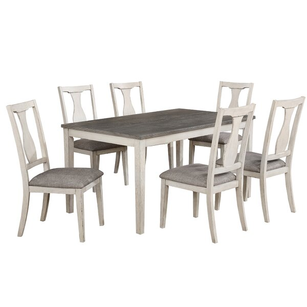 Surrey 7 Piece Solid Wood Dining Set by Ophelia & Co.