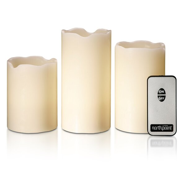 3 Piece Northpoint Unscented Flameless Candle Set (Set of 3) by Style Asia