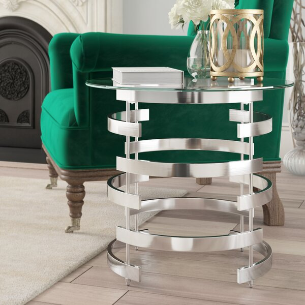 Daphne Glass Top Pedestal End Table By Willa Arlo Interiors