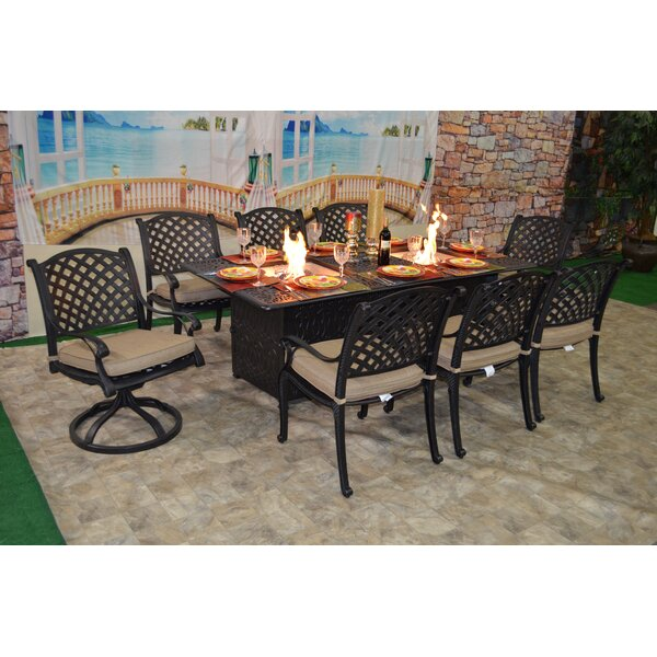 Wes 9 Piece Sunbrella Dining Set with Cushions by