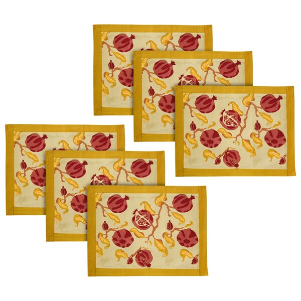 Pomegranate Placemat (Set of 6) by Couleur Nature