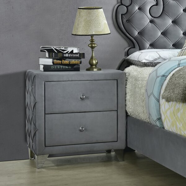 Hildebrand 2-Drawer Button Tufted Nightstand Grey by House of Hampton