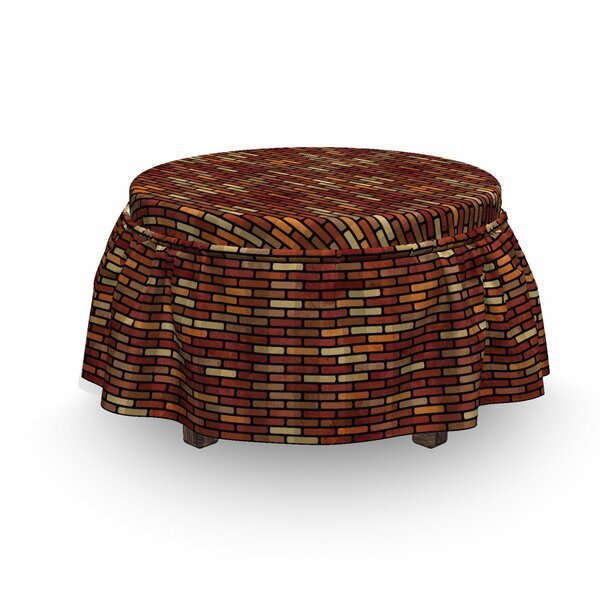 Brick Wall Earthy Ottoman Slipcover (Set Of 2) By East Urban Home