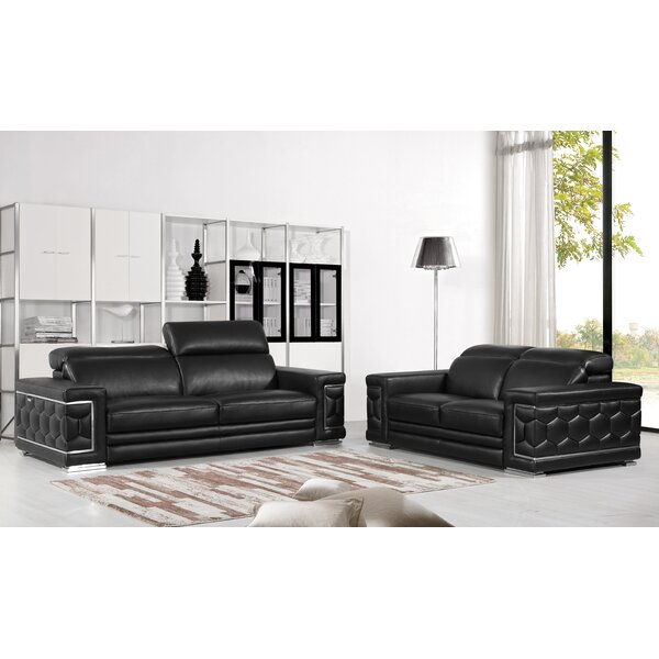 Nicolette Luxury Italian Leather 2 Piece Living Room Set (Set of 2) by Orren Ellis